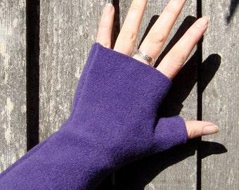 Fingerless Gloves, Royal PURPLE color, washable, super soft fleece, wrist warmers