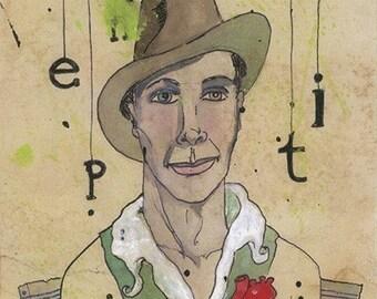 e. e. cummings, the (heartfelt) print - poet portrait by Amanda Atkins
