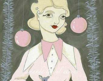 Silver in E Minor print - vintage inspired holiday portrait by Amanda Atkins