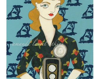 My only uncharted territory 8x10 vintage inspired giraffe wallpaper camera print by Amanda Atkins