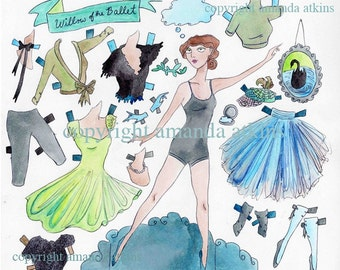 Willow of the Ballet Paper Doll - vintage inspired by Amanda Atkins