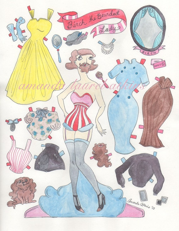 Birch the Bearded Lady circus inspired paper doll by Amanda Atkins