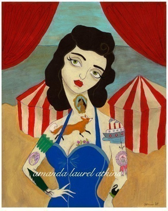 And with unspoken ease I was your pet -  vintage inspired tattooed lady print by Amanda Atkins