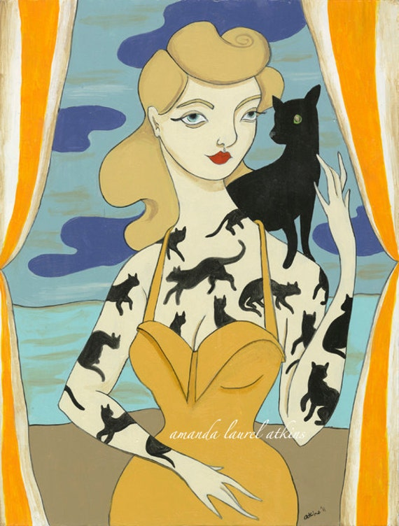 No fear of wonder Halloween vintage inspired tattooed lady 8x10 print by Amanda Atkins