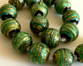 SALE 1 17mm Focal Glass Black With Gold Foil Dichroic Lampwork Bead b1728