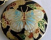 SALE 1 45x11mm Handmade Cloisonne Beads Butterfly Bead Coin Black b1995
