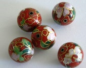 4 16mm Large Handmade Cloisonne Beads Round Bead Floral Red