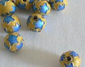 SALE 10 10mm Handmade Cloisonne Beads Gold Plated Round Star Yellow Blue