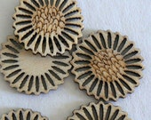 SALE 20pc 30mm Wood Beads Button Fine Cut Jewelry Making Sun Flower Design b2520