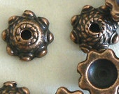 50pc 9x4mm High Quality Antique Copper Finish Bead Cap Beads b2545