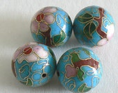 SALE 4pc Large 18mm Gold Foil  Handmade Cloisonne Beads Round Bead Light Blue b2575