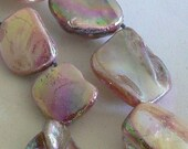 SALE 8inch AB Finish Mother of Pearl Beads Nugget Beads Peal Pink 14