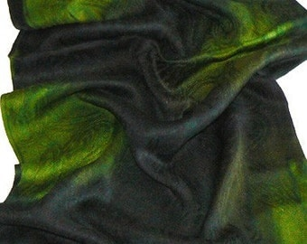Paisley Jacquard Cotton Wrap Shawl Scarf Hand Colored Green Lover