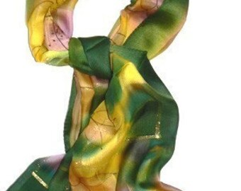 View Spring Gold Square Silk Scarf Handmade