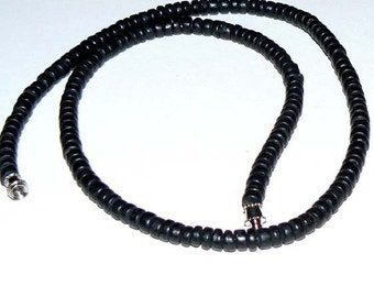 SALE 16inch 6mm Coca Wood Natural Beads Stand Black