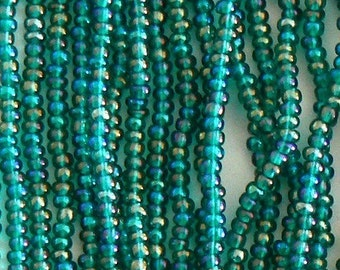 A Hank Rainbow Green Czech Seed Beads Bead Hank 11/0 F1