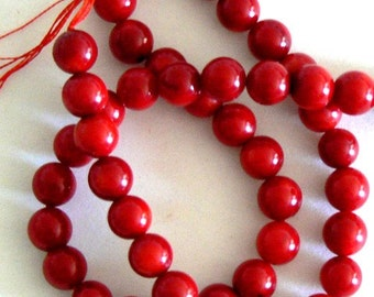 SALE 16inch Strand 8.5-9mm Round Natural Bamboo Coral Red Beads Bead