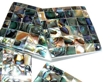 SALE 1 Large Natural Abalone Shell Bead Pendant Square 35mm