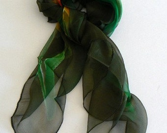 SALE Forest Hand Made Silk Scarf Bandana Hand Colored