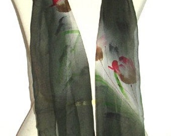 Tulips in Dark Night Green Silk Scarf Oblong Handmade