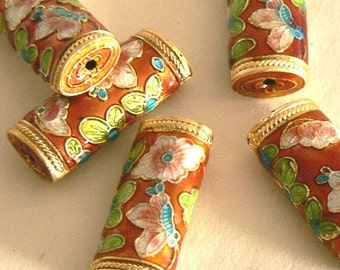 SALE 4 12x25x7mm Handmade Cloisonne Beads Gold Plated Flower and Butterfly Orange