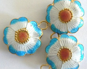 SALE 6 20x7mm Handmade Cloisonne Beads Flower Round Flat Blue