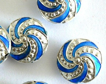 SALE 4 16x8mm Handmade Cloisonne Beads Gold Plated Brass Round Blue Silver