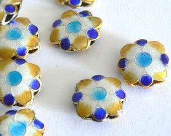 SALE 4 15x6mm Handmade Cloisonne Beads Gold Plated Brass Flower Blue Bold