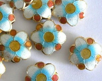 SALE 4 15x6mm Handmade Cloisonne Beads Gold Plated Brass Flower Turquoise Gold