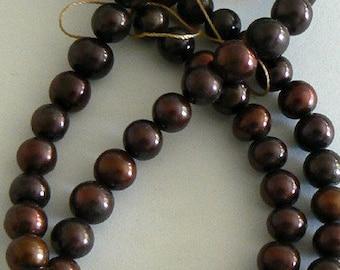 15inch 6-7mm Natural Freshwater Pearl Beads Potato Chocolate b2218