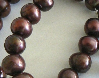 SALE 15inch Large 11mm Freshwater Pearl Beads Potato Bead Chocolate b2221
