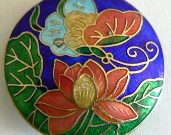 SALE 1 42x12mm Handmade Cloisonne Beads Lotus Butterfly Bead Coin b2384
