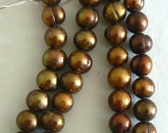 SALE 15inch 8-9mm Natural Freshwater Pearl Beads Potato Gold Chocolate b2493