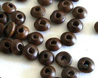 300 4x8mm Flat Wood Beads Jewelry Design Making Deep Brown b2530