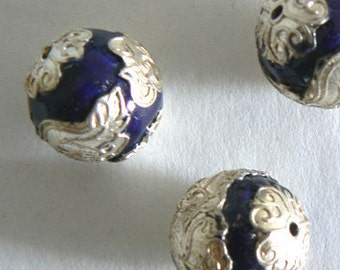 2pc Large 18mm Silver Foil Large Handmade Cloisonne Beads Round Bead Blue b2578