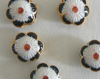 SALE 8 Handmade Cloisonne Beads Open Rounds 14x6mm 6 Petal Flower Bead b2637