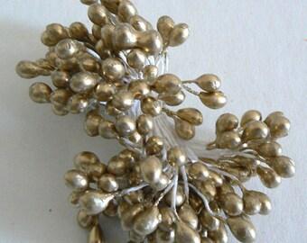 1 Bundle Flower Stamen Double Sided Large Head Gold b2696