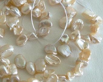 SALE 15inch Strand 8-11mm Blister Natural Freshwater Pearl Beads Cream b1412