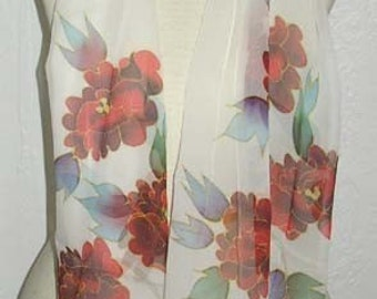 SALE Hand Pained Silk Scarf Oblong Flowers