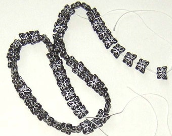 SALE 16inch Strand Silver Black Butterfly Glass Beads Czech