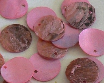 SALE 200pc 15mm Natural Shell Beads Pink Rose