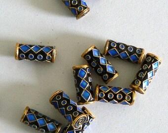 6pc 7x16mm Handmade Cloisonne Beads Tube Bead Round Black Gold Blue b1466