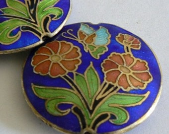 SALE 1pc 40x8mm Handmade Cloisonne Beads Double Flower Blue