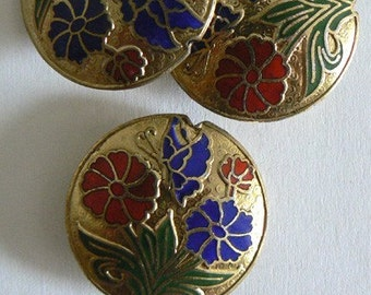SALE 30x9mm Handmade Cloisonne Beads Double Flower Gold