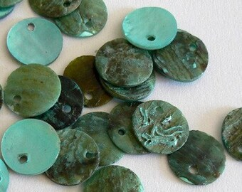 120 12mm Natural Shell Beads Blue Green