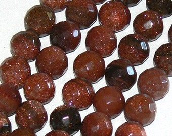 SALE 16inch 8mm Faceted Gold Stone Round Beads Gemstone b1229