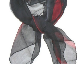 Square Silk Scarf Hand Dye Black Red Gray