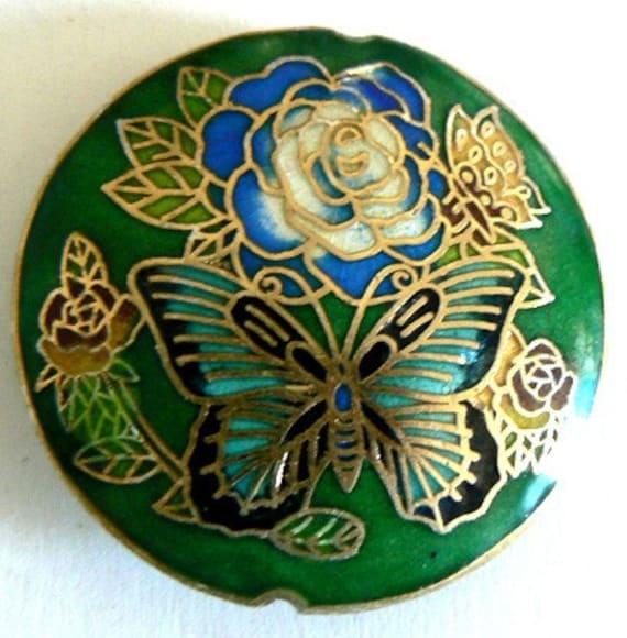 3 42x13mm Handmade Cloisonne Beads Rose Butterfly Bead Coin Green b1578 1