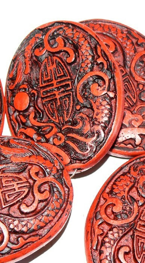 1 Huge Red Cinnabar Beads 40x50x10 mm Bead Black Pendant Double Luck Oval