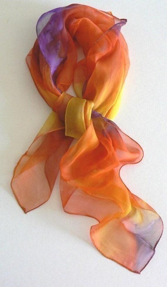Warm Summer Hand Made Silk Scarf Bandana Hand Colored